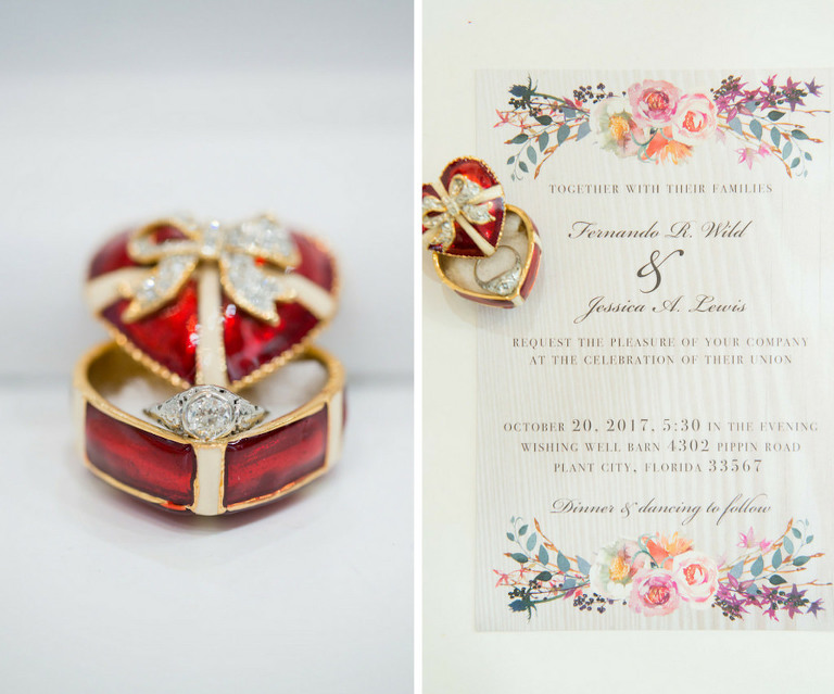 Enamel Tiny Red Heart Ring Box with Engagement Ring and Purple, Orange and Pink Watercolor Floral Wedding Invitation