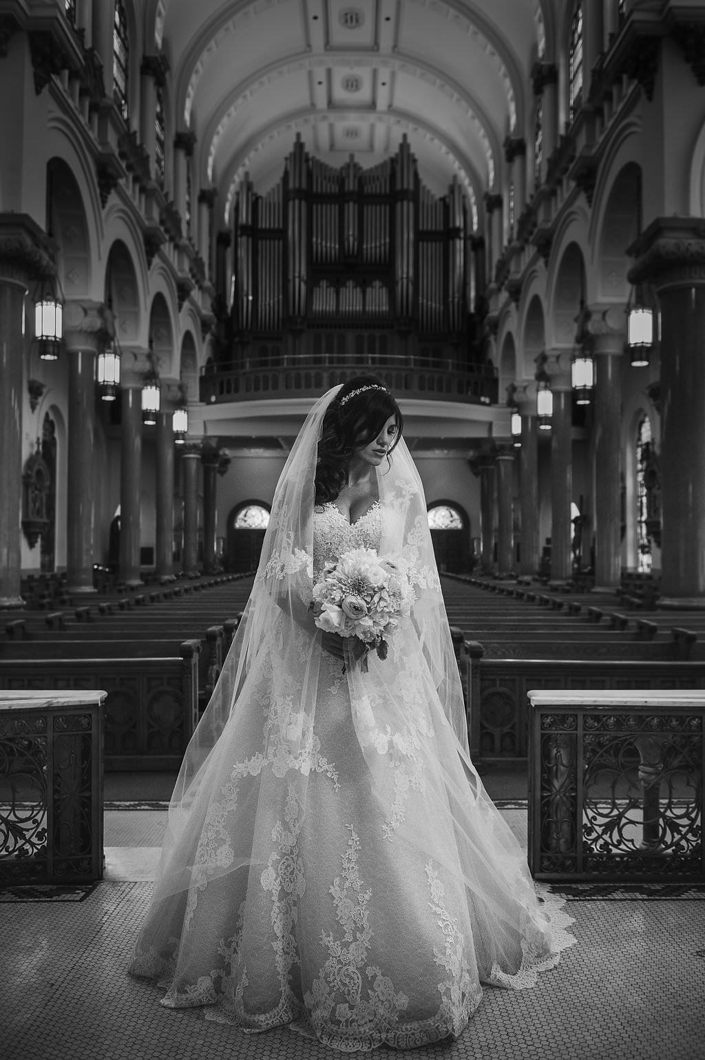 Wedding Ceremony Bridal Portrait at Downtown Tampa Traditional Wedding Ceremony Venue Sacred Heart Catholic Church | Tampa Bay Photographer Marc Edwards Photographs