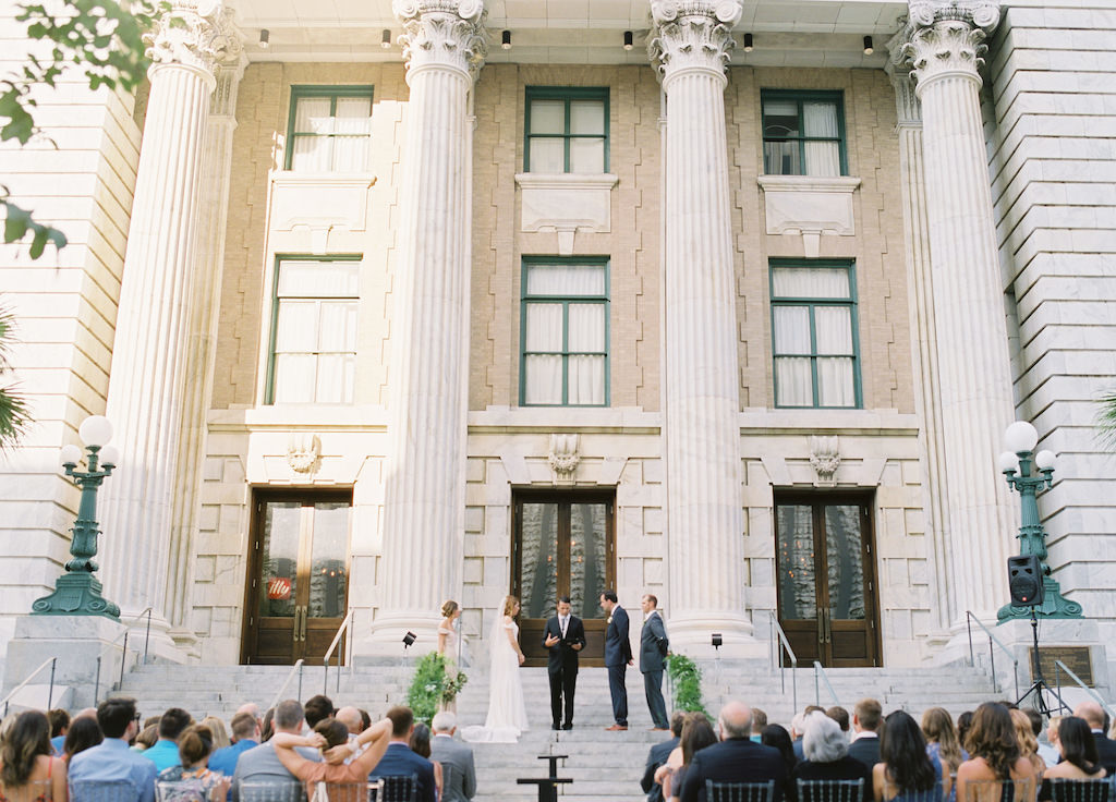 Outdoor Architectural Wedding Ceremony on Front Steps of Historic Courthouse | Downtown Tampa Hotel Venue Le Meridien