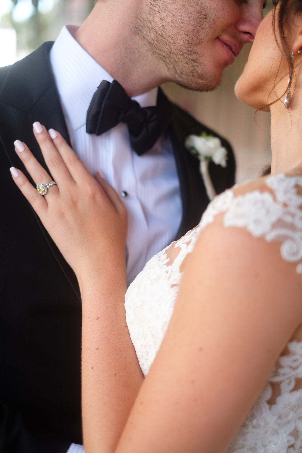 Outdoor Bride and Groom Wedding Portrait with Yellow Canary Diamond Pear Shaped Ring | Tampa Bay Wedding Photographer Marc Edwards Photographs