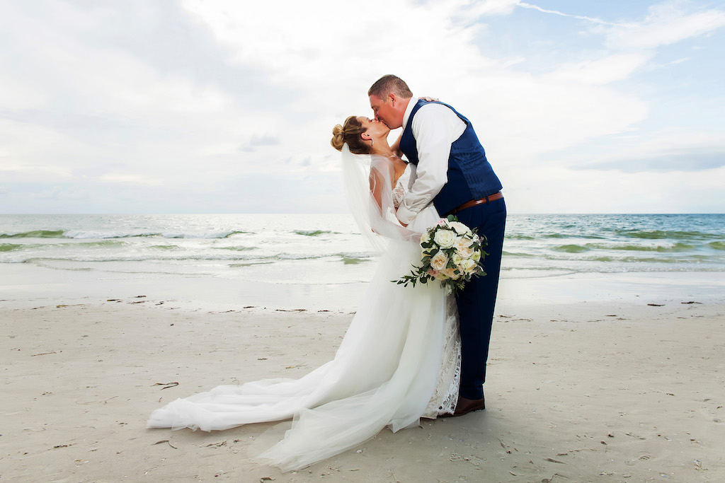 550635941a Outdoor Beach Wedding Portrait, Groom in Blue Suit, Bride with Peach and  White Floral with Greenery Bouquet | Hotel Wedding Venue Hilton Clearwater  Beach