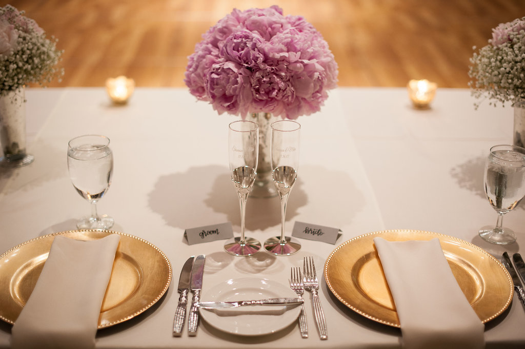 Simple Glam Pink And White Wedding Reception Table Setting With Gold