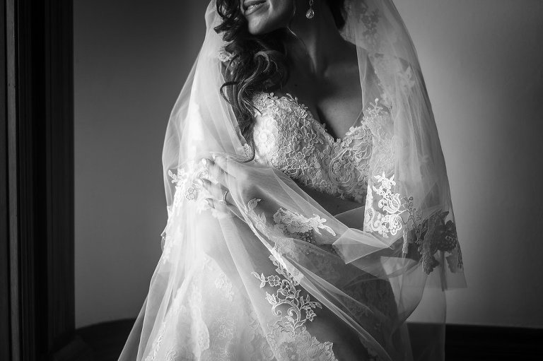 Indoor Bridal Portrait in Floral Lace Veil and Pronovias Dress | Tampa Bay Wedding Photographer Marc Edwards Photographs