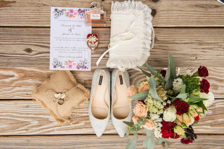 Enamel Tiny Red Heart Ring Box with Engagement Ring and Purple, Orange and Pink Watercolor Floral Wedding Invitation, Silver Glitter Pointed Toe Wedding Shoes, Rustic Burlap Ring Pillow, and Red, White, and Peach Rose with Greenery Bouquet