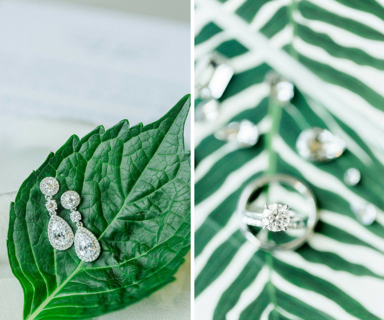 Chrystal Drop Bridal Earrings and Engagement Ring on Greenery Fern Wedding Invitation