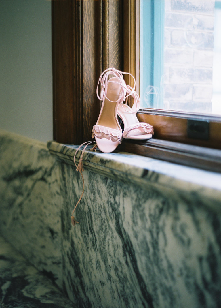 Blush Pink Open Toe Wedding Shoes