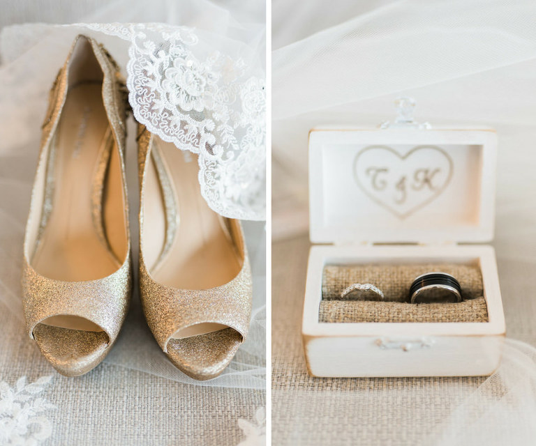 Gold Peep Toe Wedding Shoes and Black Mens Band and Diamond Ring in Personalized Initial Tiny Wood Box