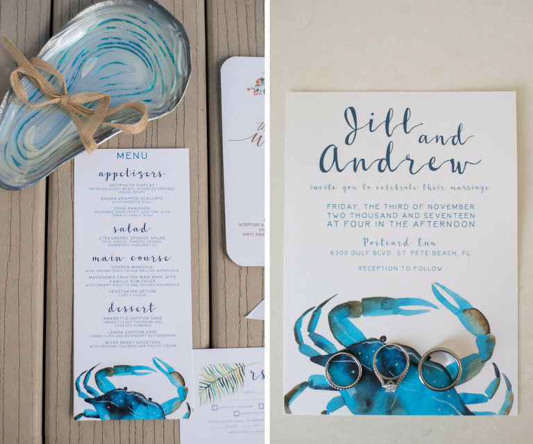 Nautical Blue and Orange Coastal Wedding Invitation Suite and Menu with Crabs and Watercolor Florals, Wedding Band and Engagement Ring