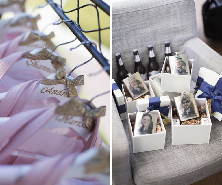 Bridesmaids Pink Robes on Personalized White Hangers with Gold Ribbon, and Groomsmen Gift Boxes with Custom Photo Portrait Caricature Flasks in White Gift Boxes With Navy Blue Ribbon