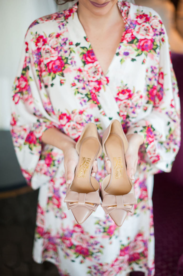 Bride Getting Ready Portrait in PInk and Cream Floral Silk Robe with Pointed Toe with Bows Ferragamo Wedding Shoes