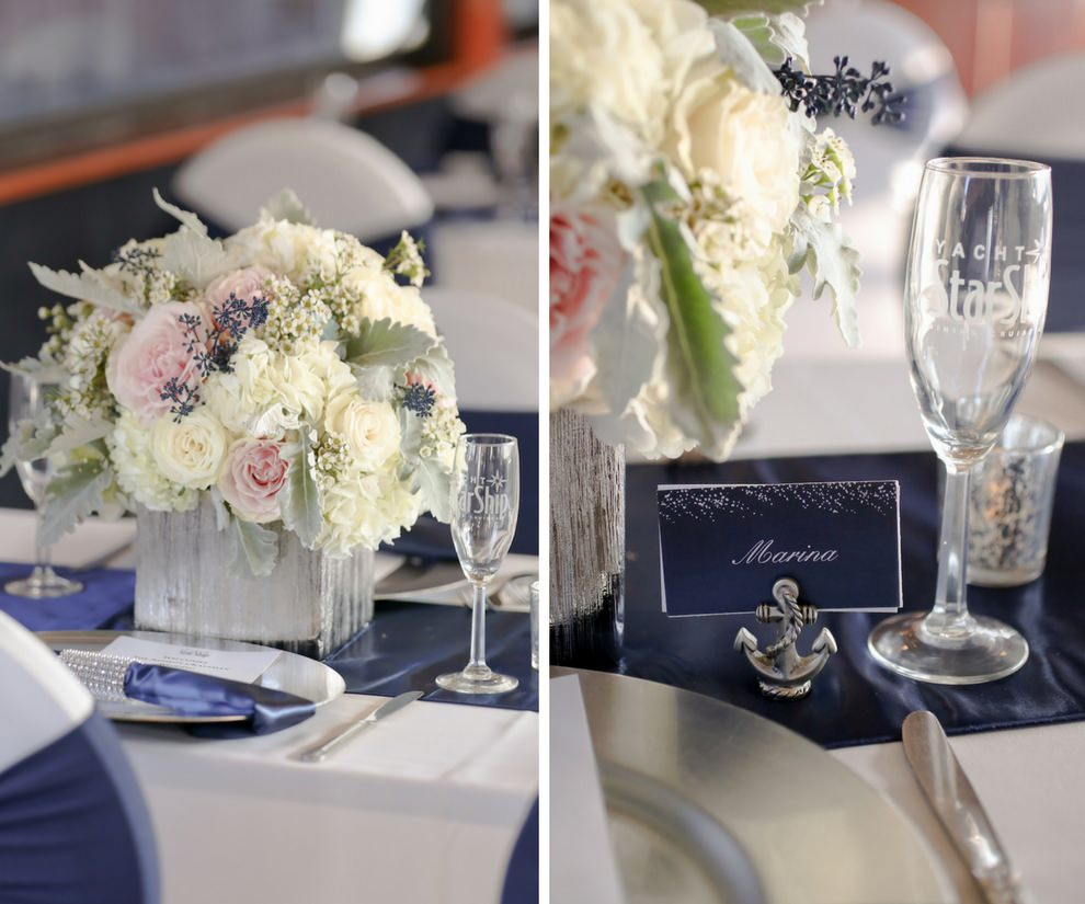 Nautical Wedding Reception Table Setting With Blush Pink