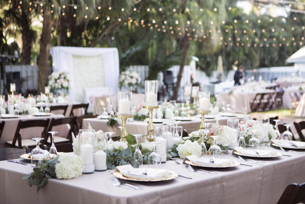 Outdoor Beach Wedding Reception With Blush Pink Linens Gold