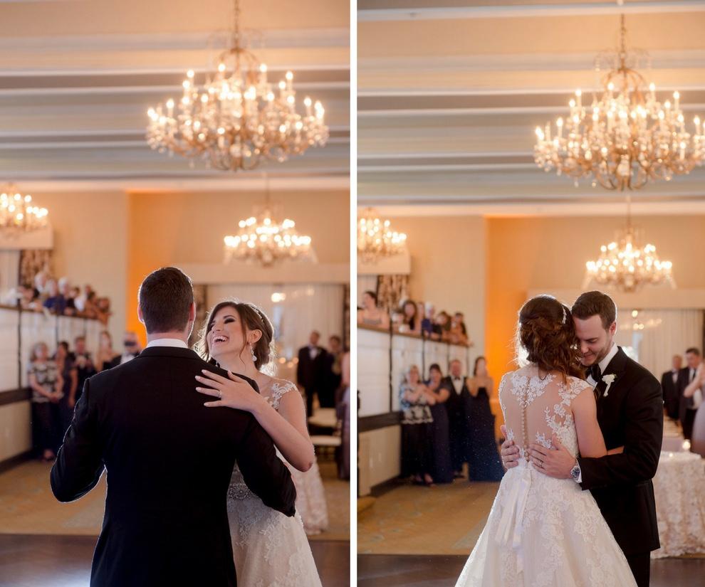 Hotel Ballroom First Dance Portrait, Bride in Illusion Lace Back A Frame Pronovias Dress | Tampa Bay Wedding Photographer Marc Edwards Photographs | St Pete Beach Historic Venue The Don CeSar