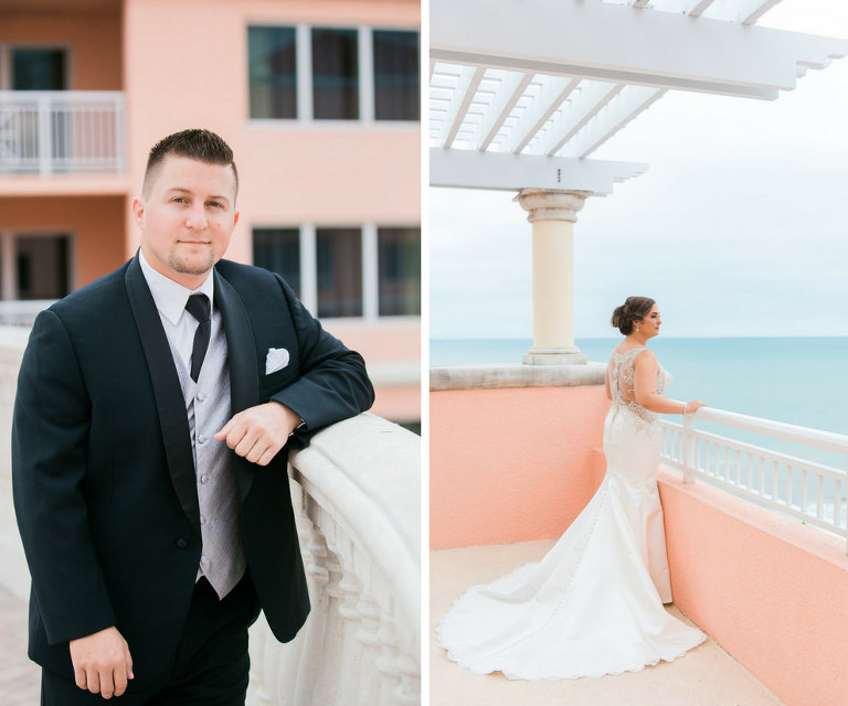 Outdoor Waterfront Hotel Rooftop Portraits, Bride in Lace Illusion Back Dress, Groom in Black Suit with Silver Vest | Tampa Bay Wedding Photographer Kera Photography | Venue Hyatt Regency Clearwater Beach