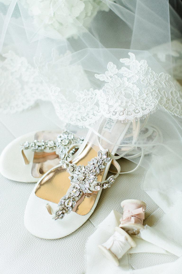 Badgley Mischka White Jeweled Flat Strappy Sandal Wedding Shoes