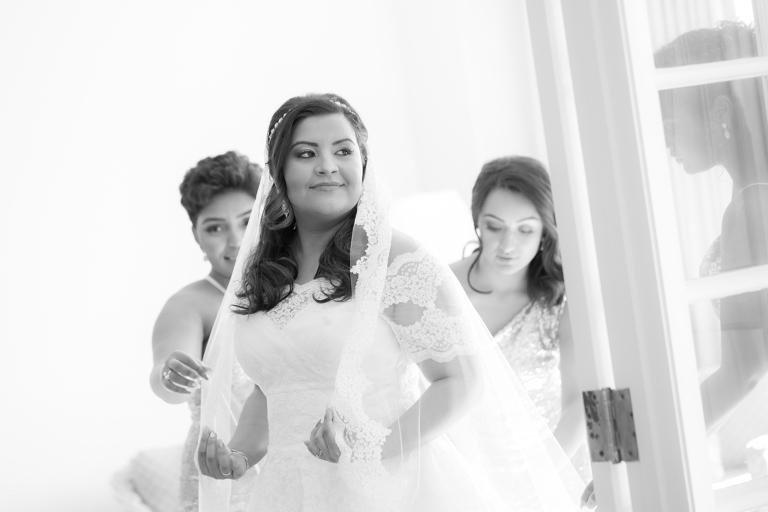 Bridal Portrait in Lace Off the SHoulder Sleeve Pronovias Wedding Dress