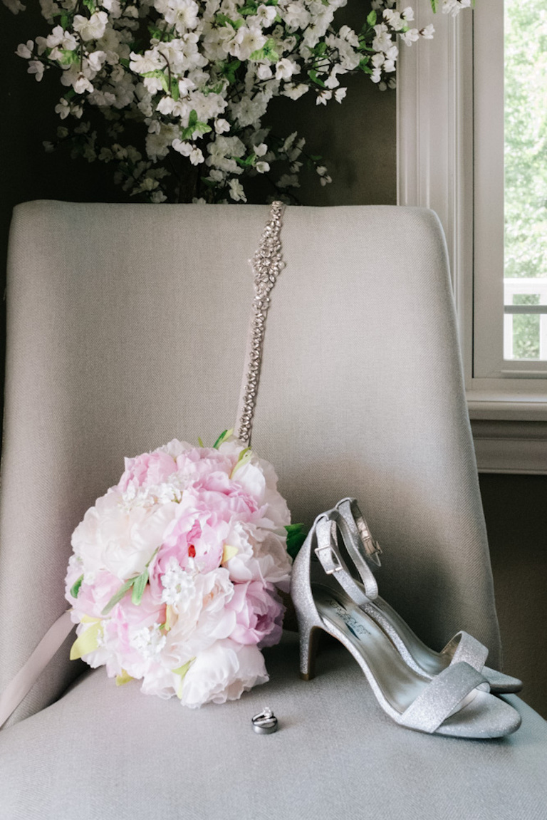 Pink Wedding Bouquet with Silver High Heels