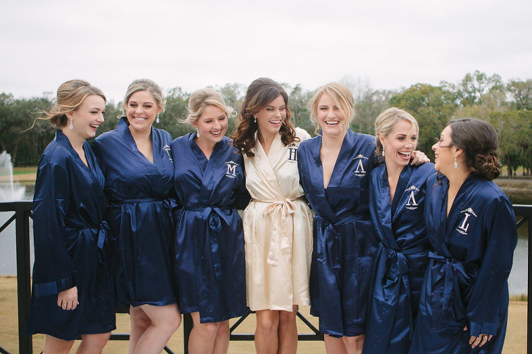 Outdoor Bridal Party Getting Ready Portrait in Customized Monogrammed Navy Blue Silk Robes