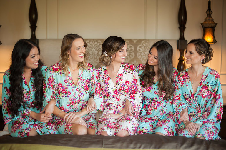 Wedding Bridal Party Getting Ready Portrait in PInk and Cream and Blue Floral Silk Robe