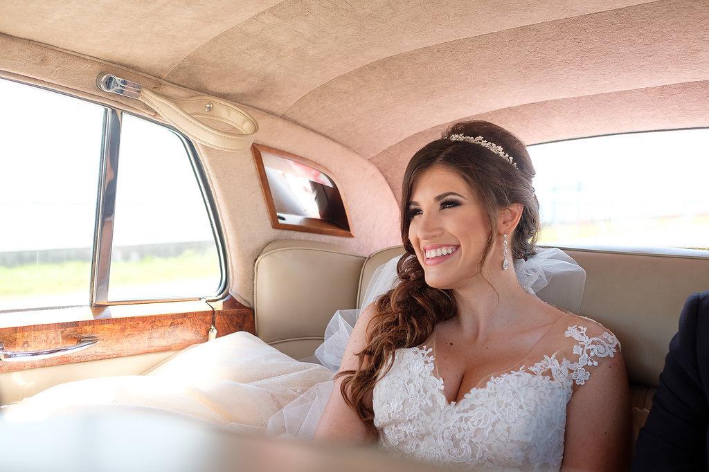 Vintage Rolls Royce Car Bridal Portrait in Floral Lace Pronovias Dress | Tampa Bay Wedding Photographer Marc Edwards Photographs