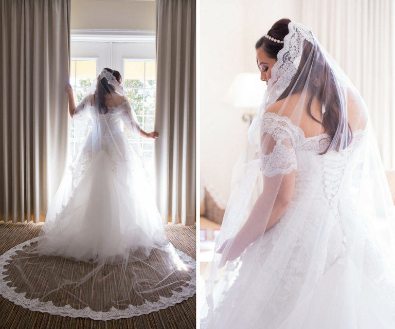 Bridal Portrait in Lace Off the Shoulder Sleeve Pronovias Wedding Dress with Long Lace Trimmed Veil