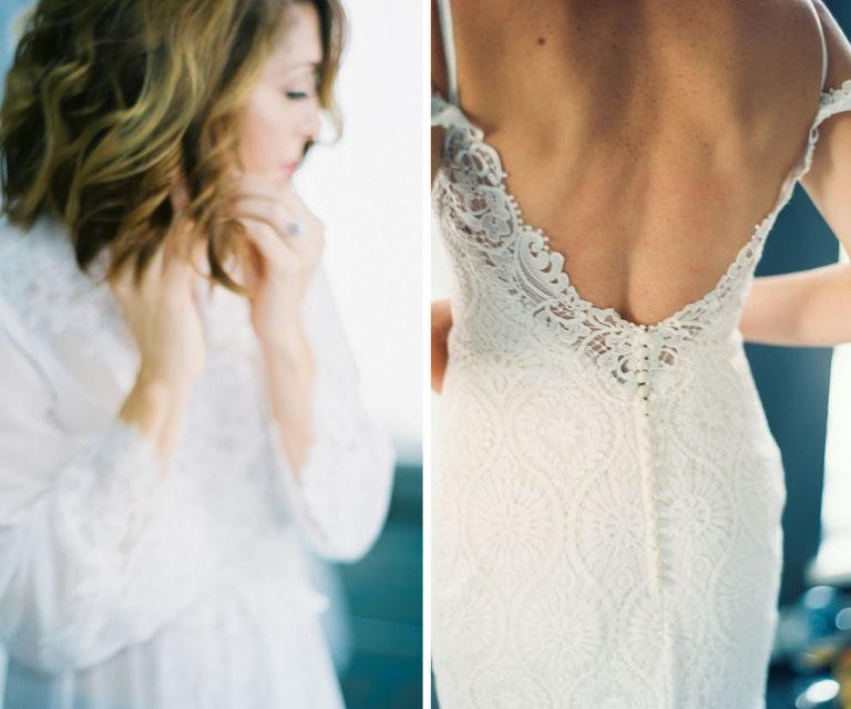 Bridal Portrait in Open Back Lace Madeline Gardner Wedding Dress