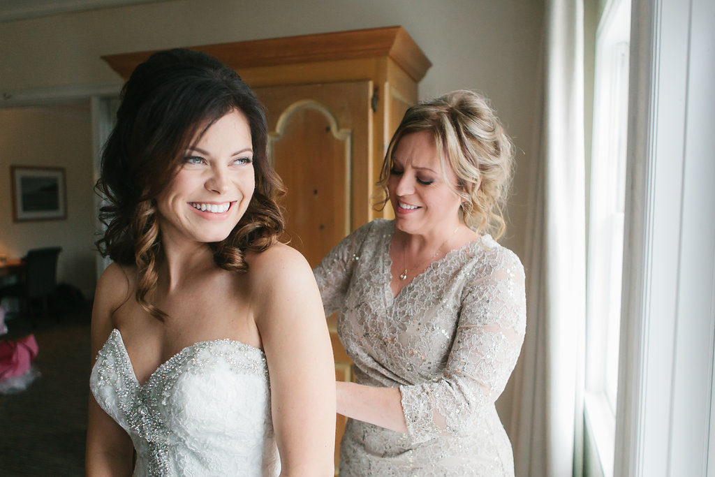 Bride Getting Ready Portrait in Silver Beaded Strapless Wedding Dress