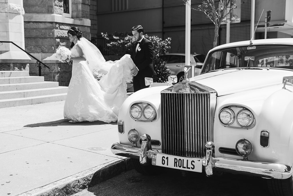 Bride Arriving At Downtown Church Wedding Portrait with Vintage Rolls Royce Car | Tampa Wedding Photographer Marc Edwards Photographs