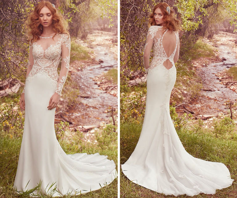 Maggie Sottero Blanche Lace Keyhole Back Wedding Dress with Illusion Sleeves | Nikki's Glitz and Glam Bridal