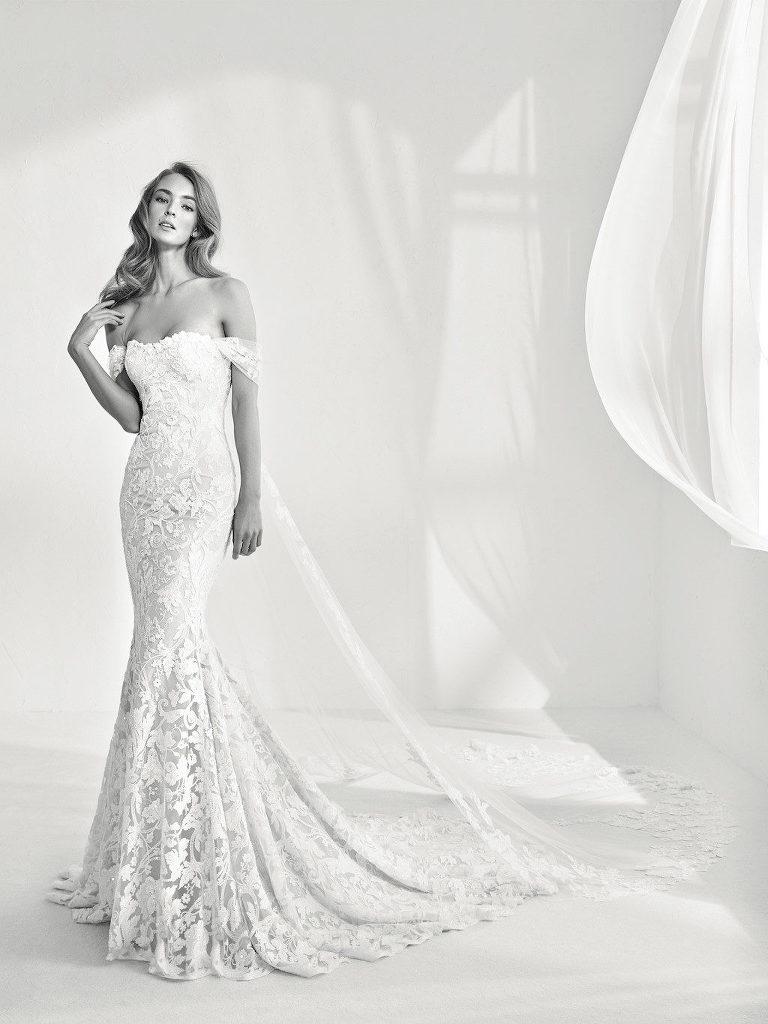 Pronovias: Rani Lace Mermaid Wedding Dress | Nikki's Glitz and Glam Bridal Boutique