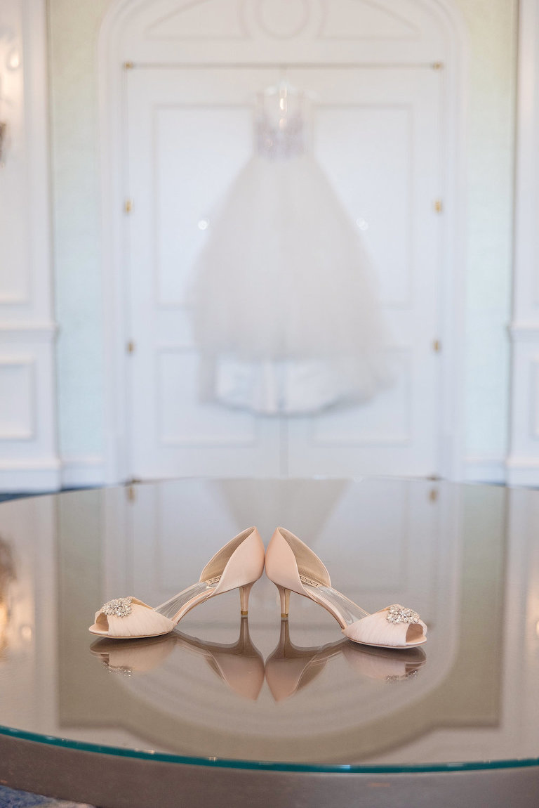 Peep Toe Blush Pink Wedding Shoes with Rhinestone, Hayley Paige Ballgown Dress on Hanger