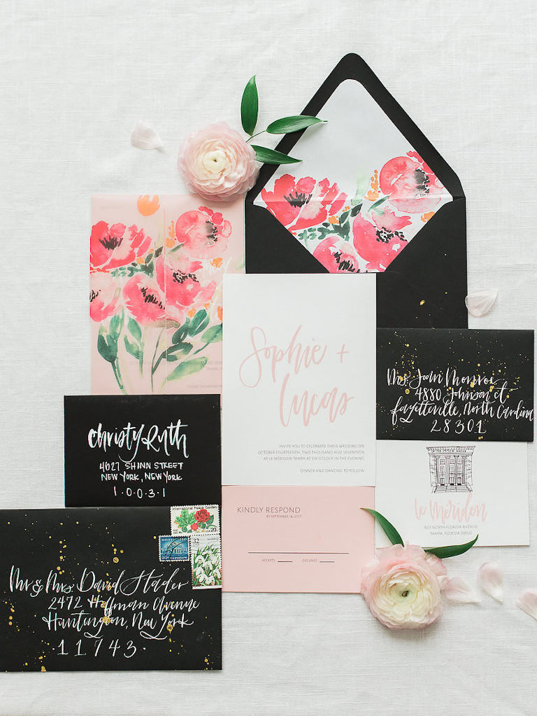 Kate Spade Inspired Black and White with Blush Stlish Wedding iNvitation Suite with Watercolor Florals and Gold Paint Splatter