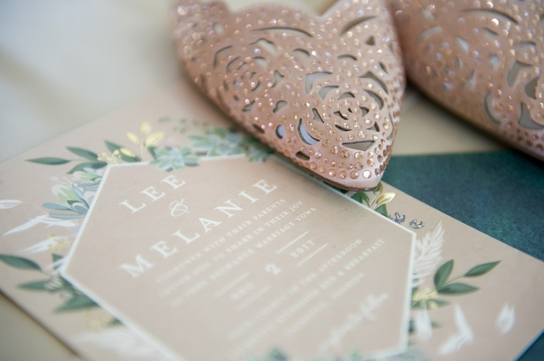 Beige and Sage Green Botanical Geometric White printed Wedding Invitation with Rose Cutout Leather Sequin Pointed Toe Wedding Shoes