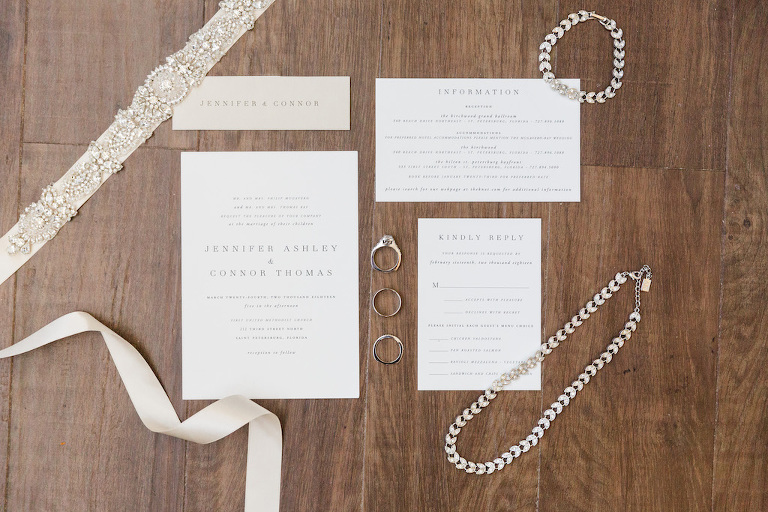 Elegant Gray Printed on Ivory Wedding Invitation Suite with Bridal Jewelry, Engagement Ring and Wedding Bands, and Beaded Garter