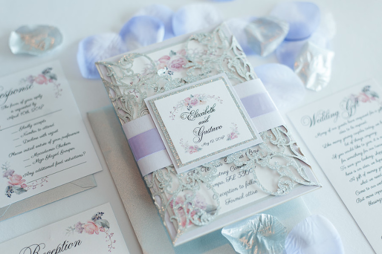 Romantic Lavender Pink Rose and Greenery Floral Wedding Invitation Suite with Silver Glitter Laser Cutout Detail Envelope
