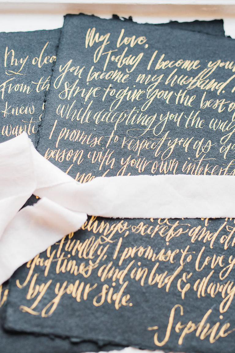 Kate Spade Inspired Gold Printed on Black Paper Wedding Vows