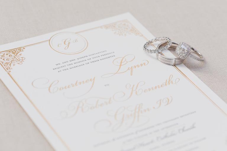 Elegant Traditional Gold Foil Wedding Invitation