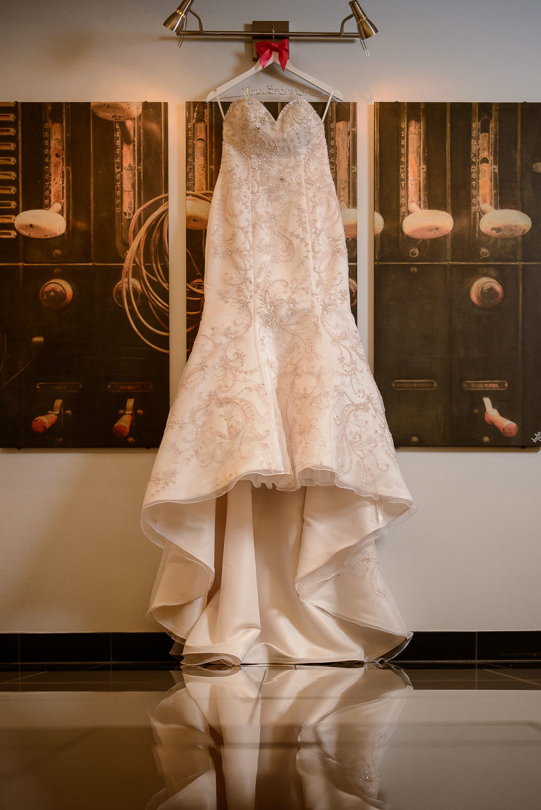 Strapless Mermaid Champagne Floral Wedding Dress on Custom hanger