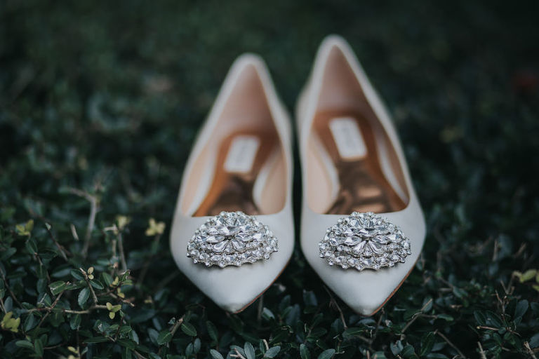 White Pointed Toe with Rhinestone Wedding Shoes