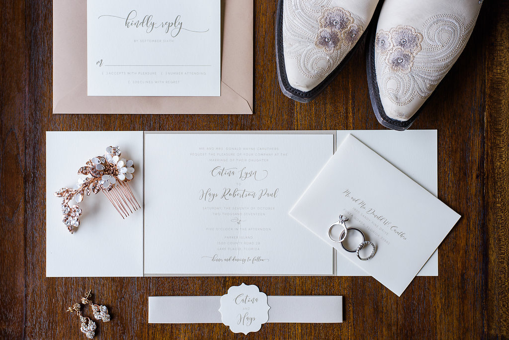 Rose Gold Bridal Jewelry and Hair Comb with Stylish Script white and SIlver and Pink WEdding Invitation Suite, and White Embroidered Cowboy Boots