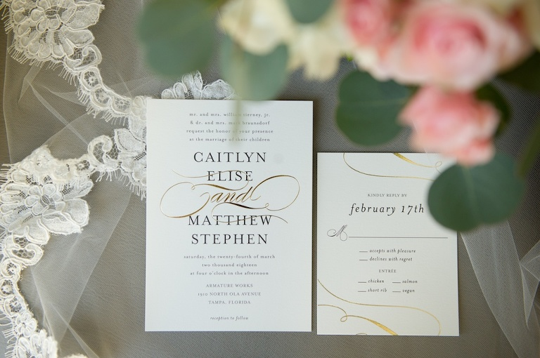 Stylish Gold And Navy Blue Script on White Printed Wedding Invitation Suite
