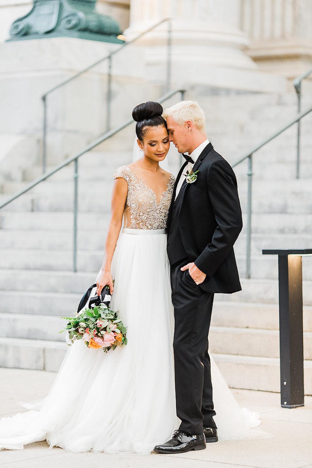 Outdoor Wedding Portrait Bride In Ballgown Wedding Dress With