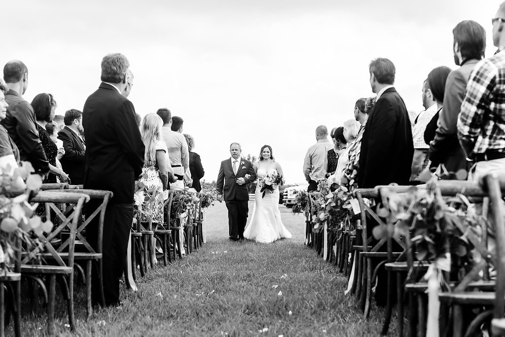 Black and White Outdoor Wedding Ceremony Portrait, with Crossback Chairs and Florals   Tampa Bay Wedding Planner NK Productions