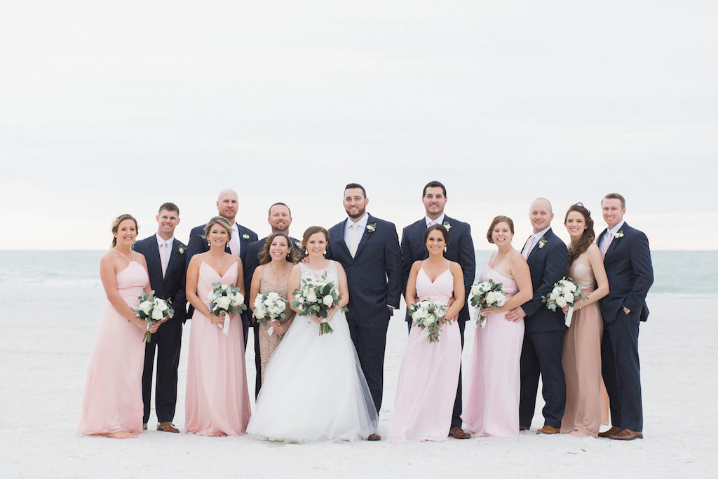 Outdoor Wedding Party Portrait At St Pete Beach Bridesmaids In