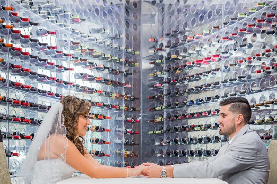 Modern Wine Cellar Wedding Portrait | Waterfront Tampa Bay Hotel Wedding Venue The Westin Tampa Bay
