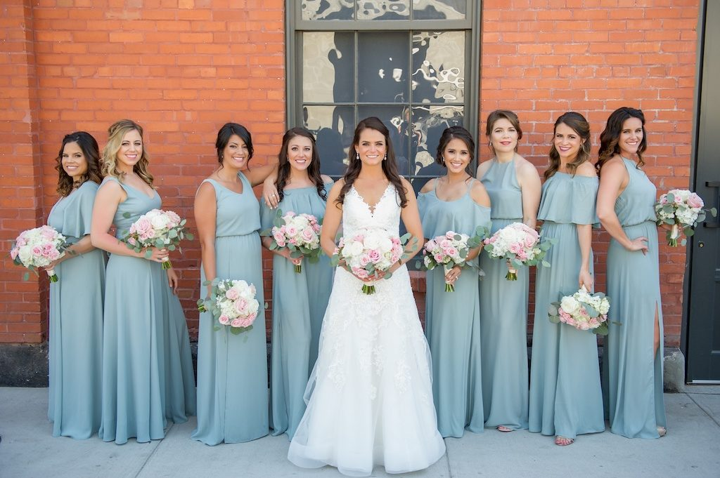 Outdoor Downtown Bridal Party Portrait, Bride in Sweetheart A Line Wedding Dress with White and Pink Rose with Greenery Bouquet, Bridesmaids in Mismatched Sage Green Show Me Your Mumu Dresses   Tampa Wedding Photographer Andi Diamond Photography