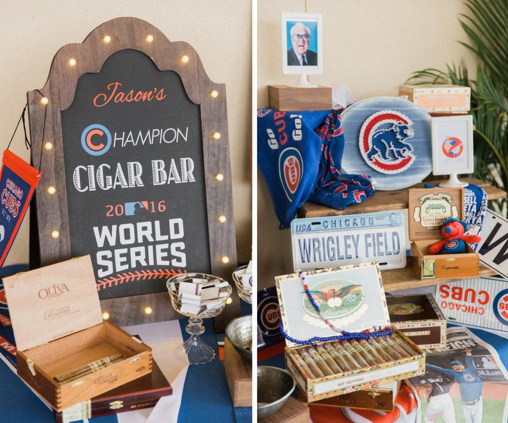Chicago Cubs Themed Cigar Bar Wedding Reception Decor Tampa Bay