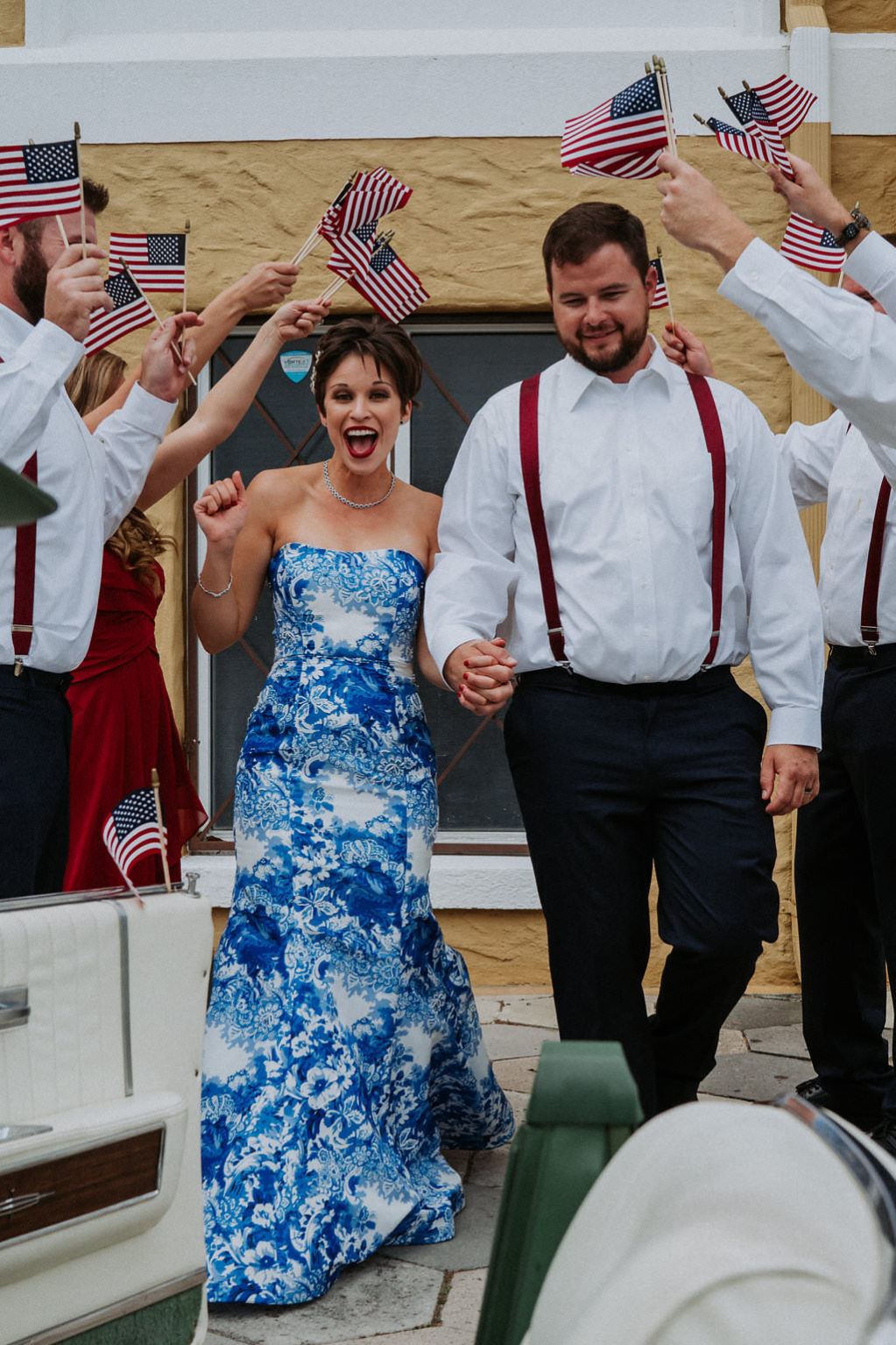 Red, White and Blue Americana Fourth of July Inspired Holiday Wedding with American Flag Exit