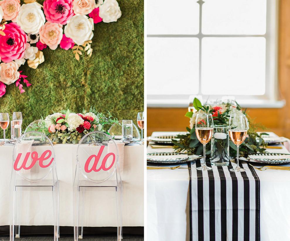Hotel Ballroom Kate Spade Inspired Wedding Reception With Laser Cut