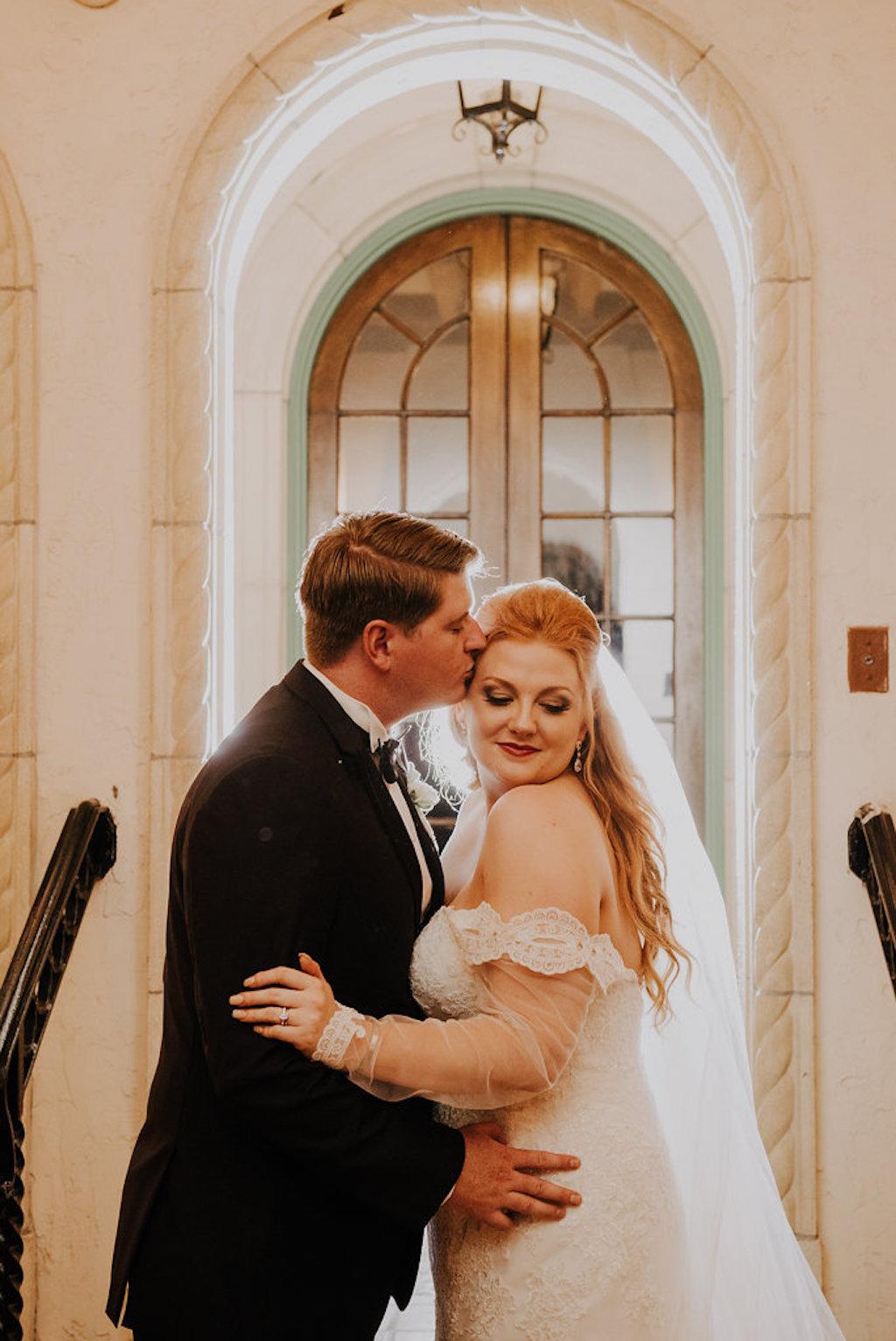 Architectural Wedding Portrait, Bride in Lace Long Sleeve Essence of Australia Dress | Sarasota Wedding Venue Crosley Powel Estate